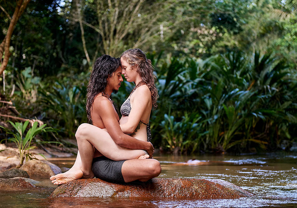A couple is practicing tantra sex